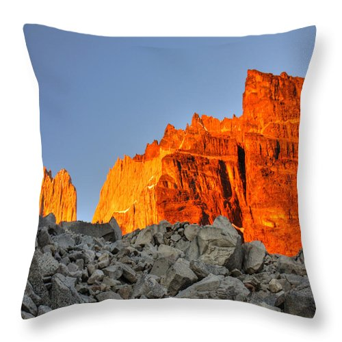Torres Del Paine Throw Pillow featuring the photograph Sunrise In Torres Del Paine by Julian Regan