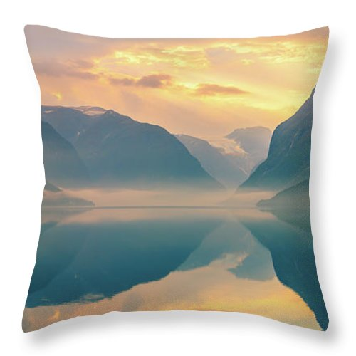 Loen Throw Pillow featuring the photograph Sunrise Lovatnet, Norway by Henk Meijer Photography
