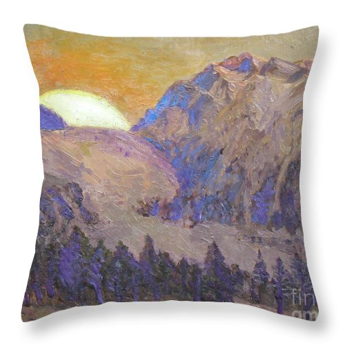 Sunrise Throw Pillow featuring the painting Sunrise by Meihua Lu