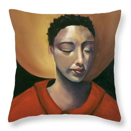 Asian Girl Woman Sun Red Ethnic Black Figurative Portrait Throw Pillow featuring the painting Sunrise by Niki Sands