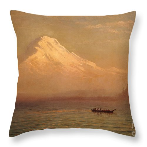 American; Landscape; Mount Rainier; Mt; Washington State; Mowich Lake; Volcano; Mountain; West; Western; Northwest; Wilderness; Boat; Dawn; Snowcapped; Snow-capped Throw Pillow featuring the painting Sunrise On Mount Tacoma by Albert Bierstadt