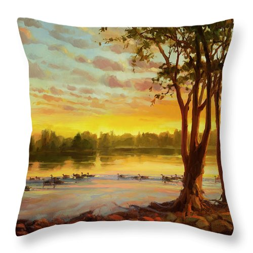 Landscape Throw Pillow featuring the painting Sunrise On The Columbia by Steve Henderson
