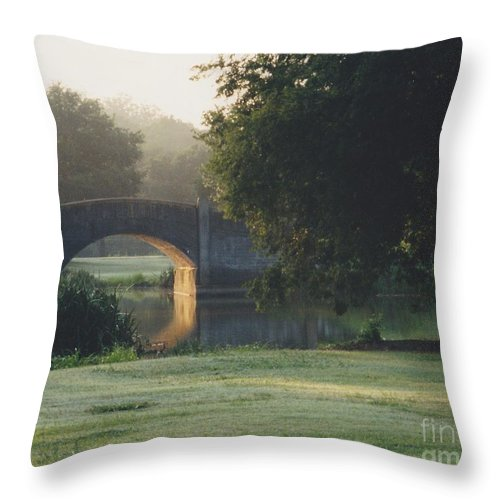 Bridge Throw Pillow featuring the photograph Sunrise On The Golf Course by Michelle Powell
