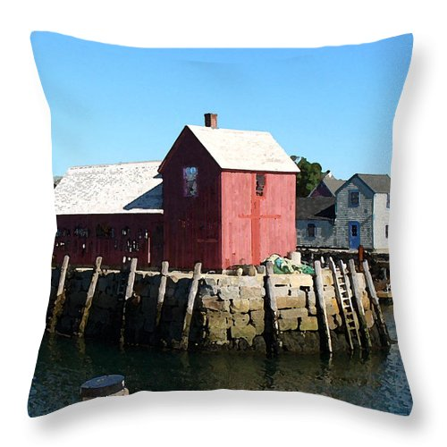Water Throw Pillow featuring the painting Sunrise On The Pier by Paul Sachtleben
