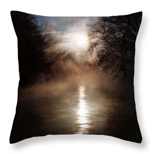Sunrise Throw Pillow featuring the photograph Sunrise On The Tulpehocken by Rebecca Smith