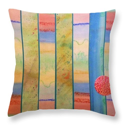 Primary Colors Throw Pillow featuring the mixed media Sunrise On The Water by Desiree Paquette
