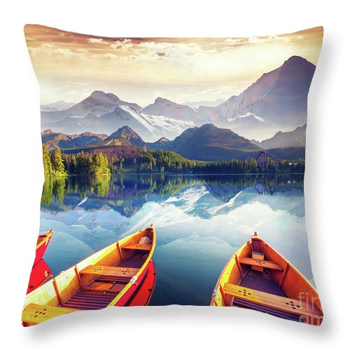 Alp Throw Pillow featuring the photograph Sunrise over Australian Lake by Thomas Jones