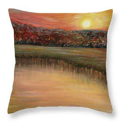 Sunrise Throw Pillow featuring the painting Sunrise Over the Marsh by Nadine Rippelmeyer