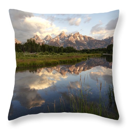 Reflection Snake River Schwabacher Landing Grand Teton National Park Wyoming Usa Mountain Sunrise Throw Pillow featuring the photograph Sunrise Reflection At Schwabacher Landing by Paul Cannon