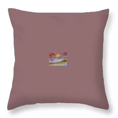 Impressionistic Throw Pillow featuring the painting SUNRISE surreal modern landscape painting fine art poster print by Derek Mccrea