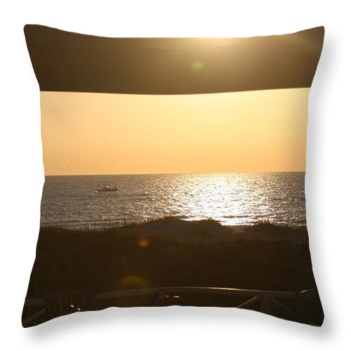 Sunrise Throw Pillow featuring the photograph Sunrise Through The Pavilion by Nadine Rippelmeyer