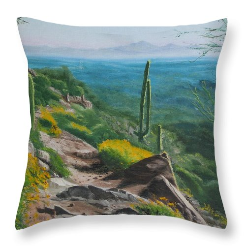 Landscape Throw Pillow featuring the painting Sunrise Trail by Lea Novak