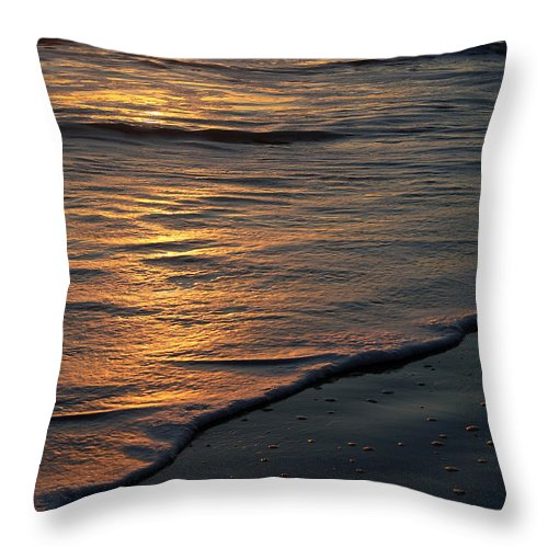Ocean Beach Sun Sunrise Reflection Wave Tide Bright Orange Gold Water Vacation Throw Pillow featuring the photograph Sunrise Waves by Andrei Shliakhau