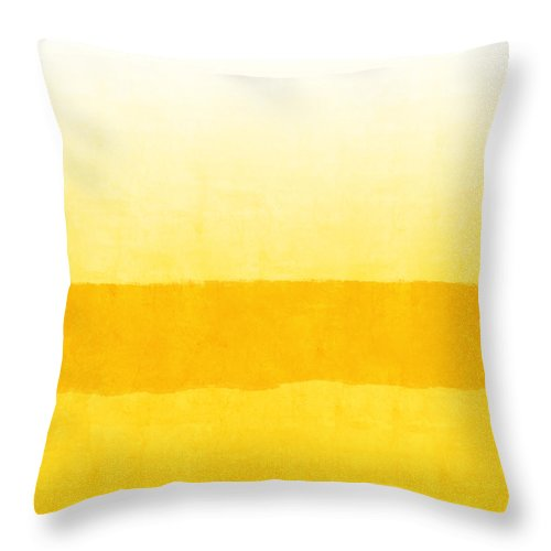 Abstract Throw Pillow featuring the painting Sunrise- Yellow Abstract Art by Linda Woods by Linda Woods