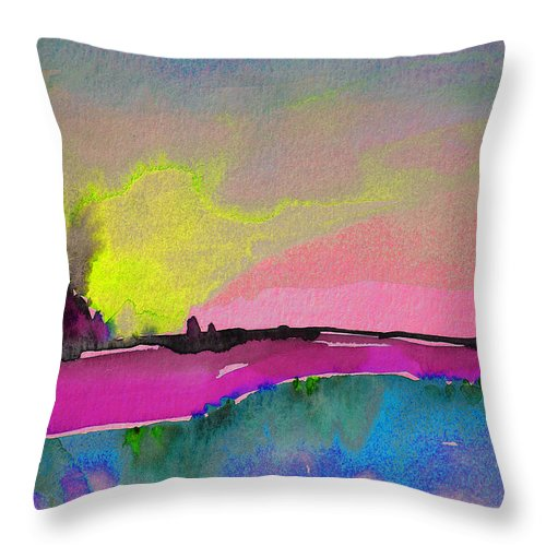 Landscape Throw Pillow featuring the painting Sunset 09 by Miki De Goodaboom