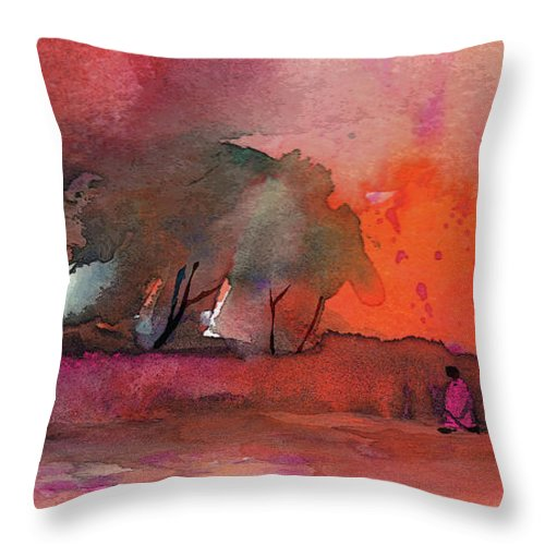 Impressionism Throw Pillow featuring the painting Sunset 28 by Miki De Goodaboom