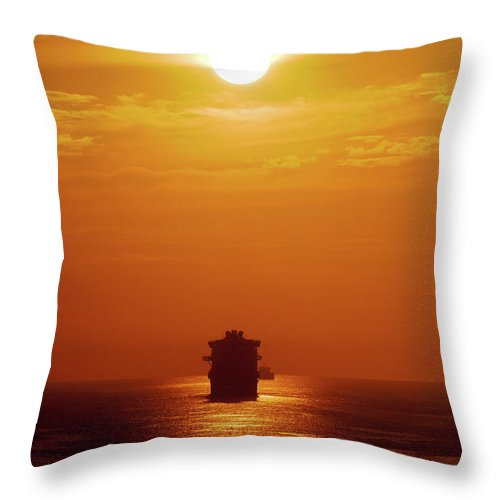 Ships Throw Pillow featuring the photograph Sunset - 36 by George Phile