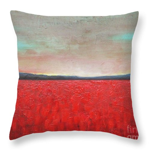 Sunset Above Poppy Field Throw Pillow For Sale By Vesna Antic