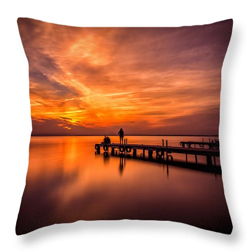 Landscape Throw Pillow featuring the photograph Sunset Albufera 2 by Javier Martinez Moran