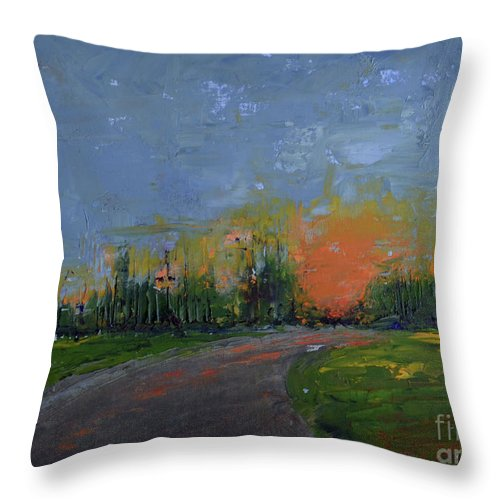 Sun.country Throw Pillow featuring the painting Sunset Almost Gone by Patricia Caldwell