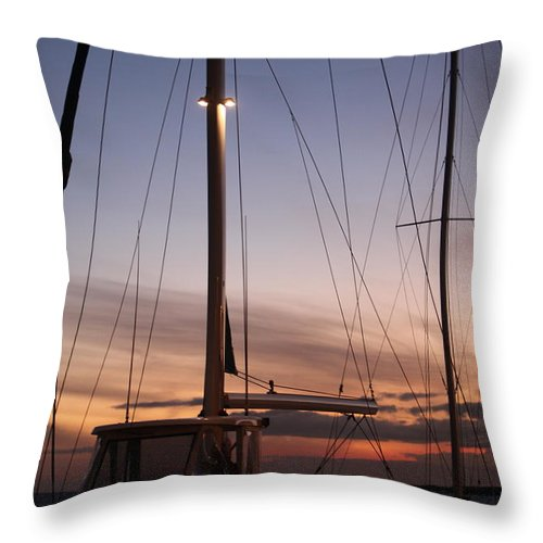 Sunset Throw Pillow featuring the photograph Sunset And Sailboat by Nadine Rippelmeyer