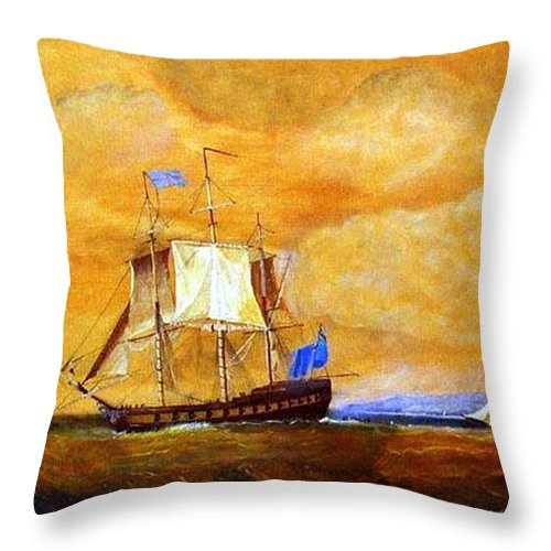 Sunset Throw Pillow featuring the painting Sunset And Ships by Richard Le Page