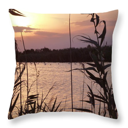 Almeria Throw Pillow featuring the photograph Sunset And Water by Laura Greco