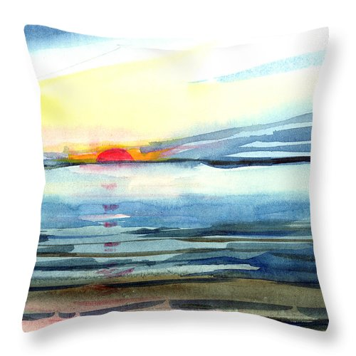 Landscape Seascape Ocean Water Watercolor Sunset Throw Pillow featuring the painting Sunset by Anil Nene