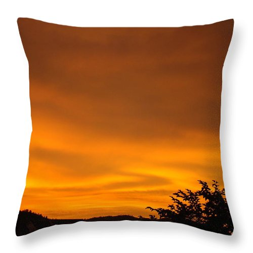 Sunset Throw Pillow featuring the photograph Sunset Art Prints Orange Glowing Western Sunset Baslee Troutman by Baslee Troutman