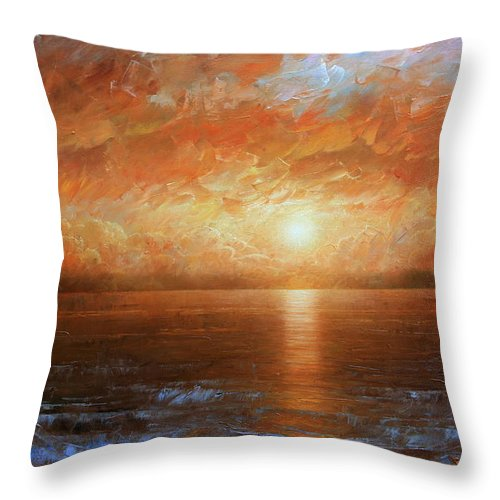 Landscape Throw Pillow featuring the painting Sunset by Arthur Braginsky