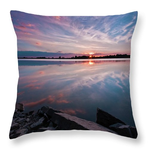 Sunrise Throw Pillow featuring the photograph Sunset at Anglezarke Reservoir #1, Rivington, Lancashire, North West England by Anthony Lawlor