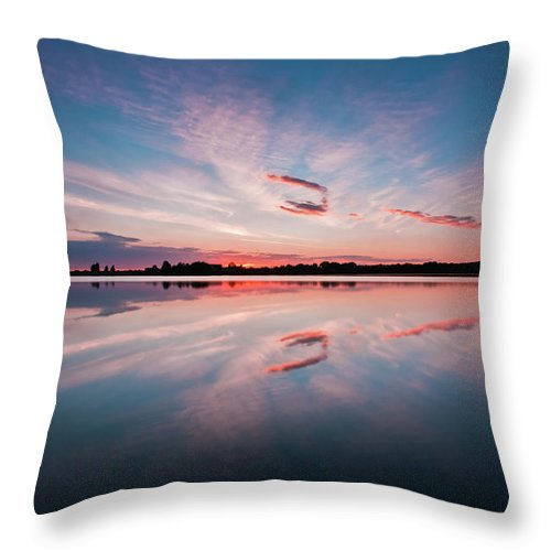 Sunrise Throw Pillow featuring the photograph Sunset at Anglezarke Reservoir #3, Rivington, Lancashire, North West England by Anthony Lawlor