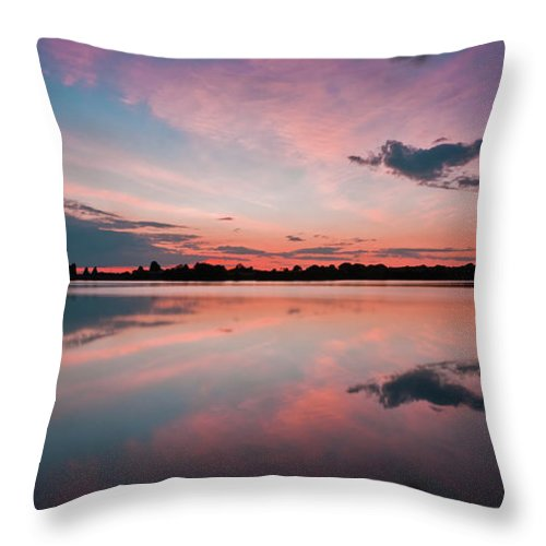 Sunrise Throw Pillow featuring the photograph Sunset at Anglezarke Reservoir #4, Rivington, Lancashire, North West England by Anthony Lawlor