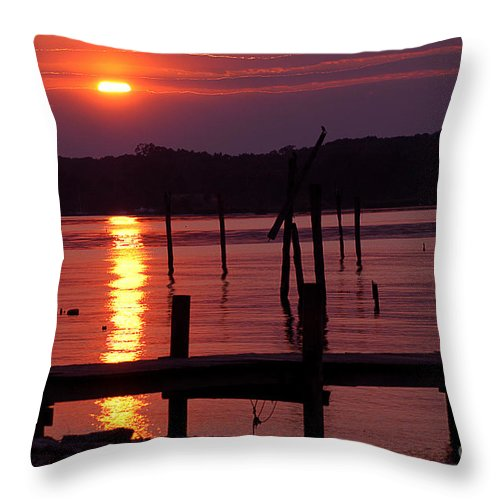 Clay Throw Pillow featuring the photograph Sunset At Colonial Beach by Clayton Bruster