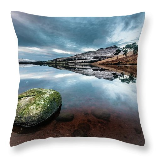 Sunset Throw Pillow featuring the photograph Sunset at Dovestone Reservoir, Greater Manchester, North West England by Anthony Lawlor