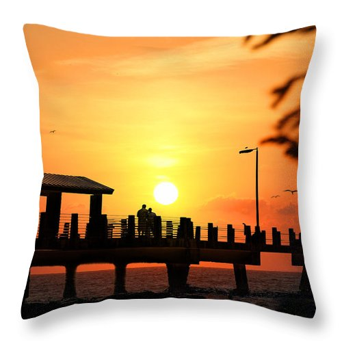 Fort De Soto Throw Pillow featuring the photograph Sunset At Fort De Soto Fishing Pier Pinellas County Park St. Petersburg Florida by Mal Bray