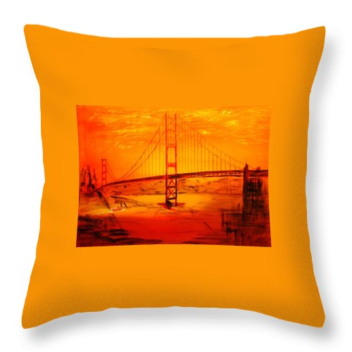 Sunset At Golden Gate Throw Pillow featuring the painting Sunset At Golden Gate by Helmut Rottler