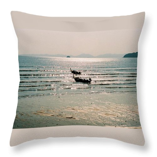 Sea Throw Pillow featuring the photograph Sunset At Krabi by Mary Rogers