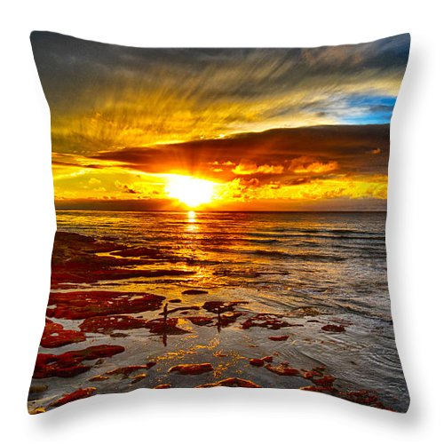 Digital Photography Throw Pillow featuring the photograph Sunset At Low Tide by Chuck Lapinsky