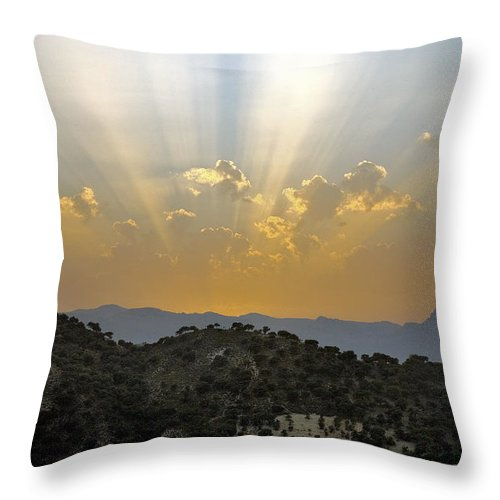 Sunrise Throw Pillow featuring the photograph Sunset At Pastelero Near Villanueva De La Concepcion Andalucia Spain by Mal Bray