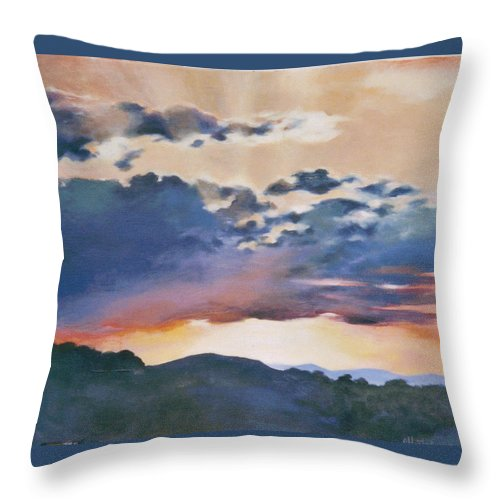 Sunset Throw Pillow featuring the painting Sunset At Quialigo by Ekaterina Mortensen