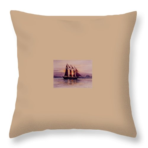 Ship Throw Pillow featuring the mixed media Sunset At Sea by Constance Drescher
