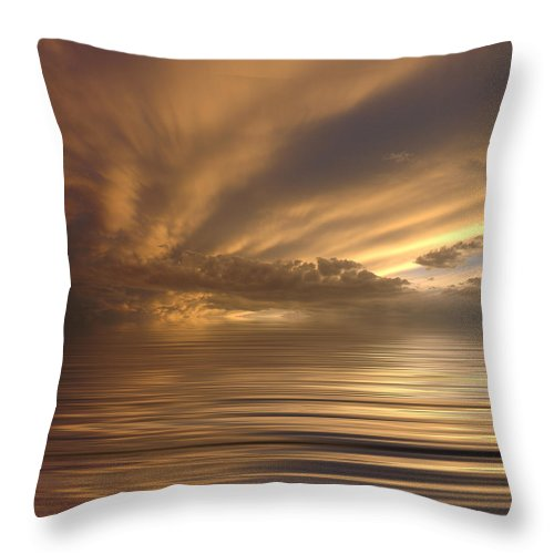 Sunset Throw Pillow featuring the photograph Sunset At Sea by Jerry McElroy