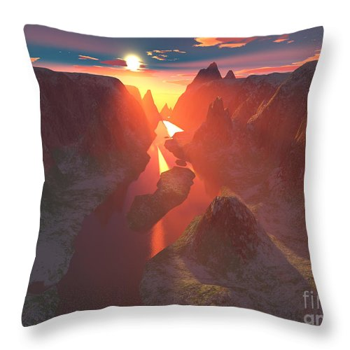 Canyon Throw Pillow featuring the digital art Sunset At The Canyon by Gaspar Avila