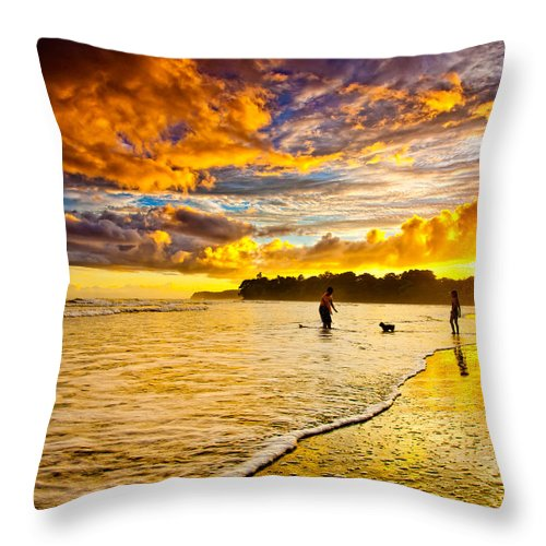 Landscape Throw Pillow featuring the photograph Sunset At The Coast by Iris Greenwell