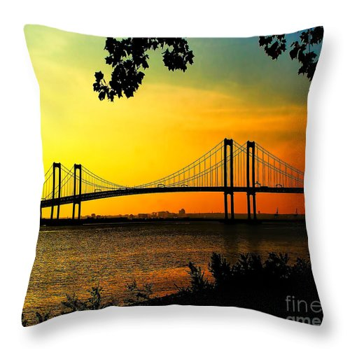 Sunset Throw Pillow featuring the photograph Sunset At The Delaware Memorial Bridge by Nick Zelinsky