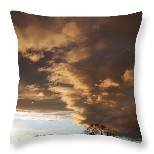 Sunset Throw Pillow featuring the photograph Sunset At The New Mexico State Capital by Rob Hans