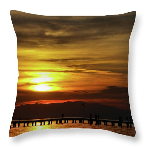 Greek Throw Pillow featuring the photograph Sunset At Thessaloniki by Tim Beach