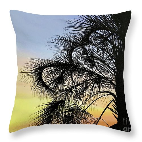 Sunset Throw Pillow featuring the painting Sunset At Treasure Island by Hunter Jay