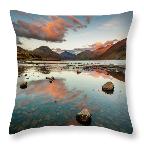 Sunrise Throw Pillow featuring the photograph Sunset at Wast Water #1, Wasdale, Lake District, England by Anthony Lawlor